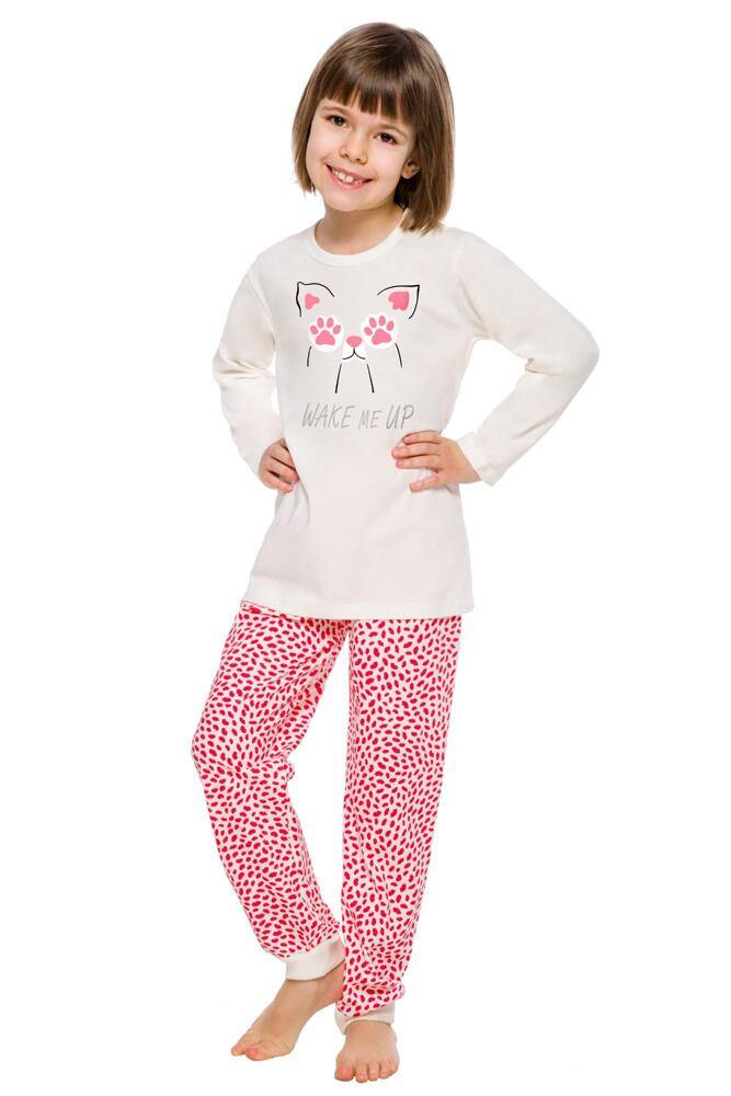 Dívčí pyžamo Elza ecru s kočičkou velikost 104