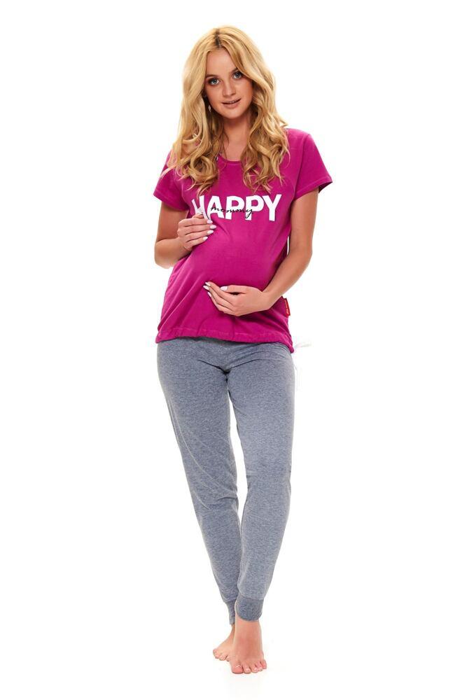 Mateřské pyžamo Happy mommy fuchsie velikost L