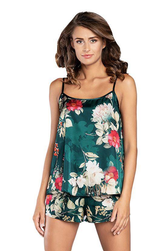 Saténové pyžamo Kreta zelené s květy velikost S
