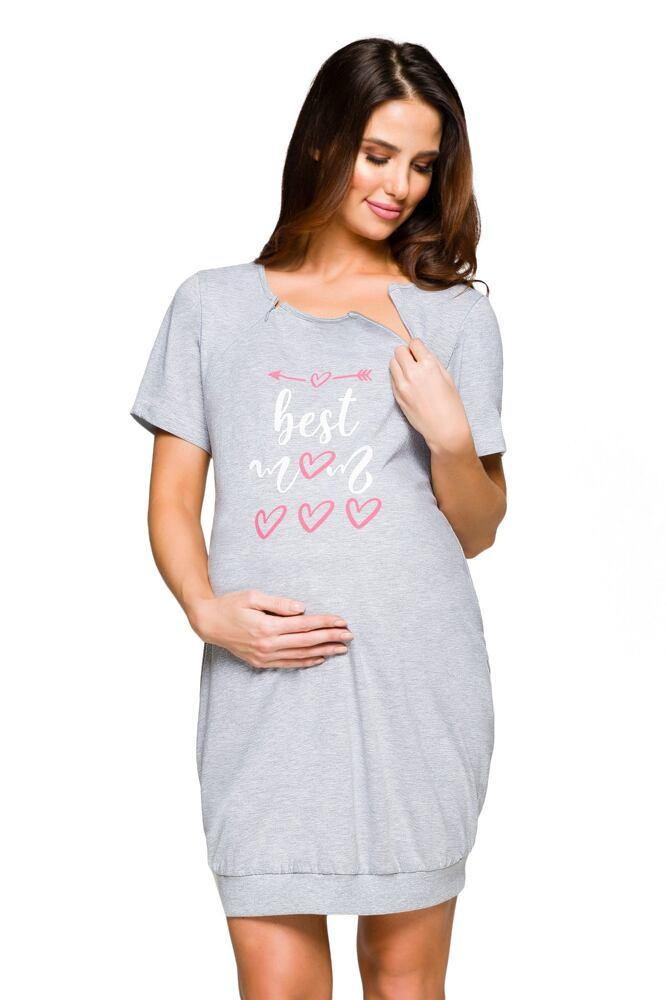 Mateřská noční košile Sonia šedý melír velikost M