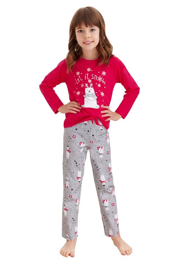 Dívčí pyžamo Maja červené méďa a vločky velikost 92