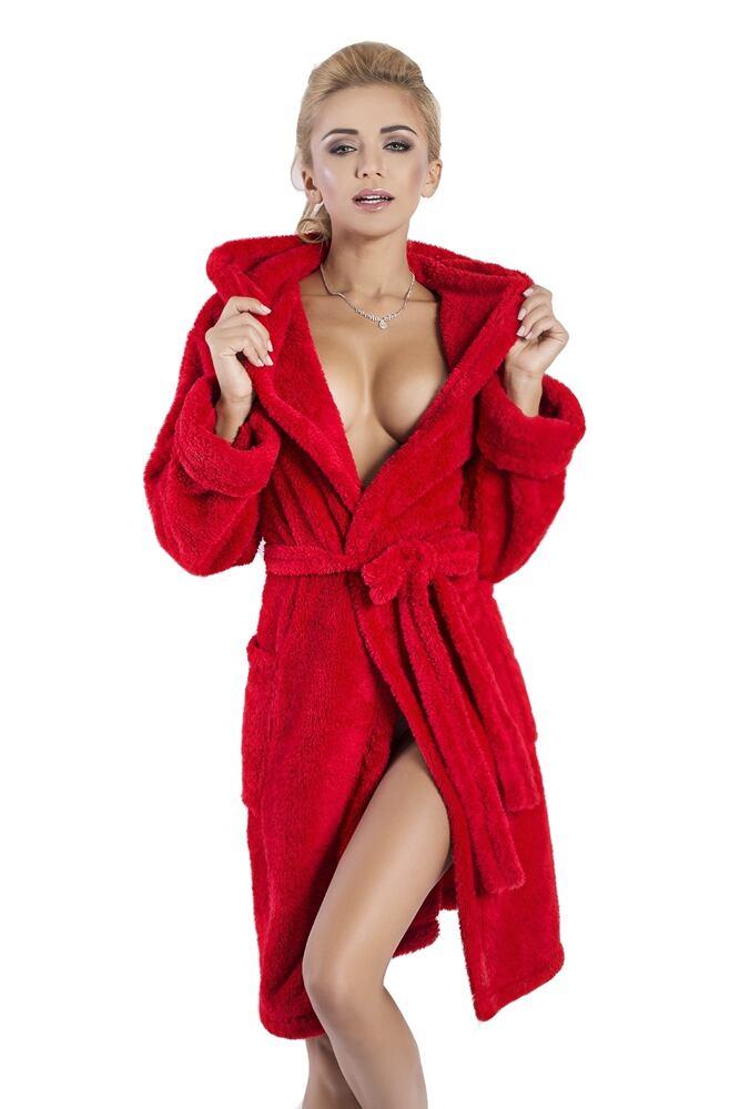 Krátký dámský župan Diana červený velikost XS