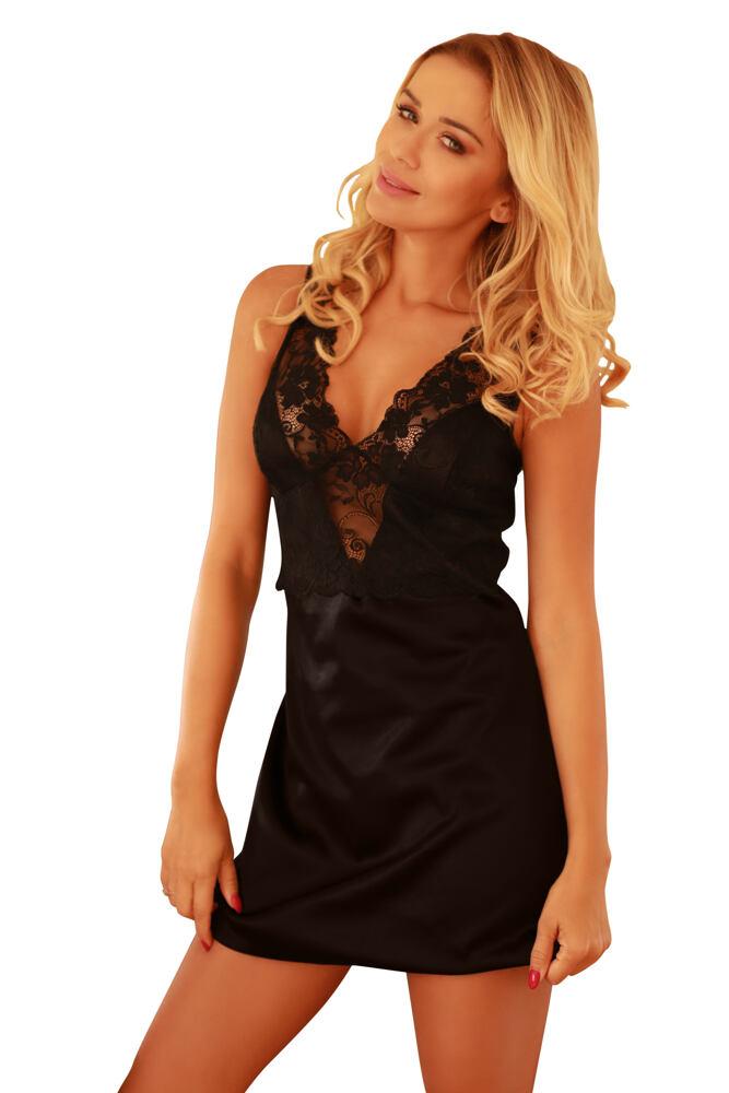 Saténová noční košilka Merida černá velikost S