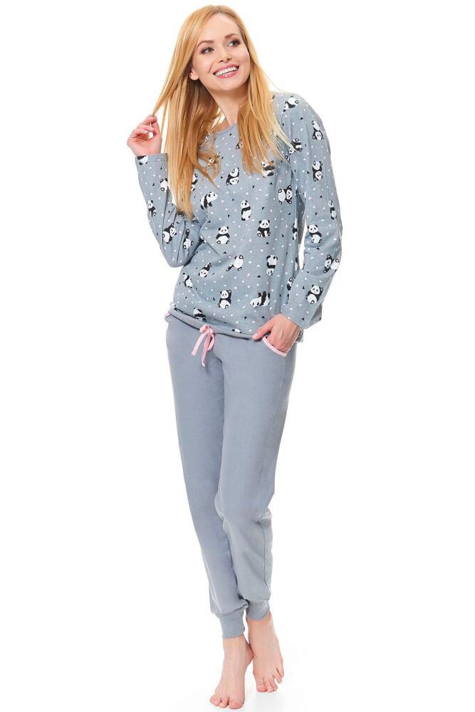 Dámské šedé pyžamo Funny panda velikost XL