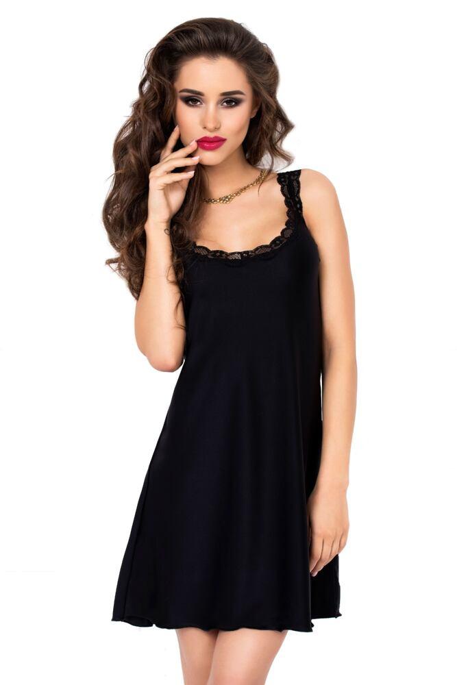 Dámská noční košilka s krajkou Giovanna černá velikost S
