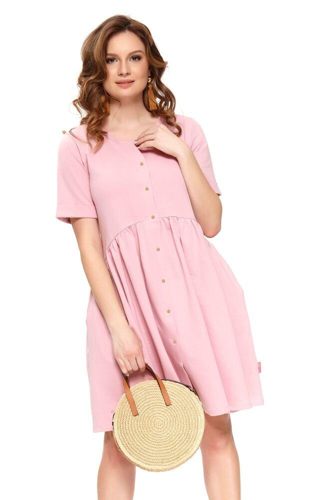 Bavlněné mateřské šaty Anna růžové velikost S