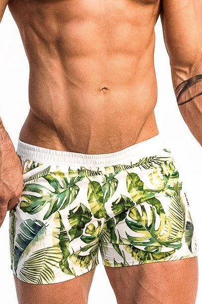 Pánské plavky Playo Palm zelené velikost L