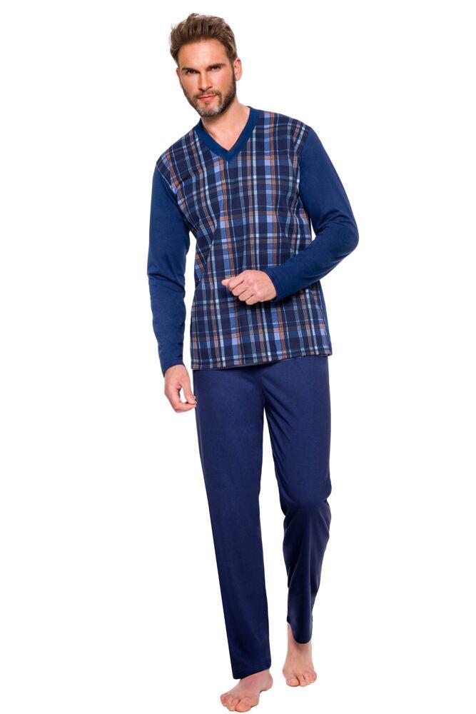 Pánské pyžamo Roman modré káro velikost XL