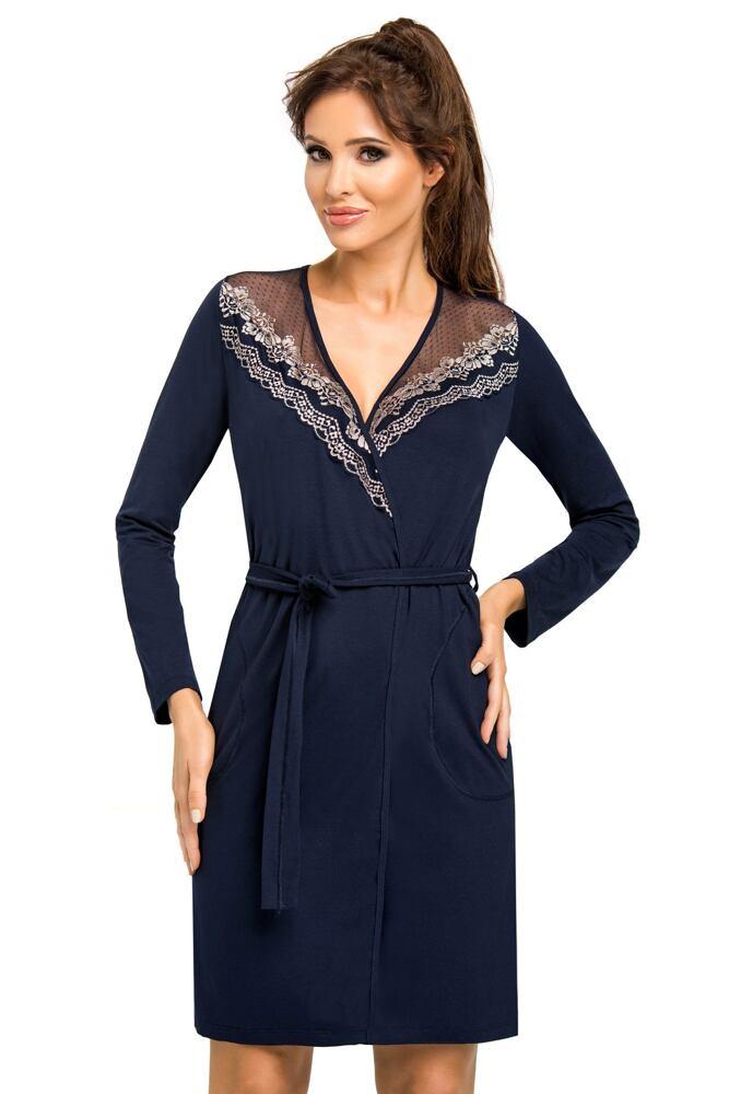 Luxusní dámský župan Jasmine tmavě modrý velikost S