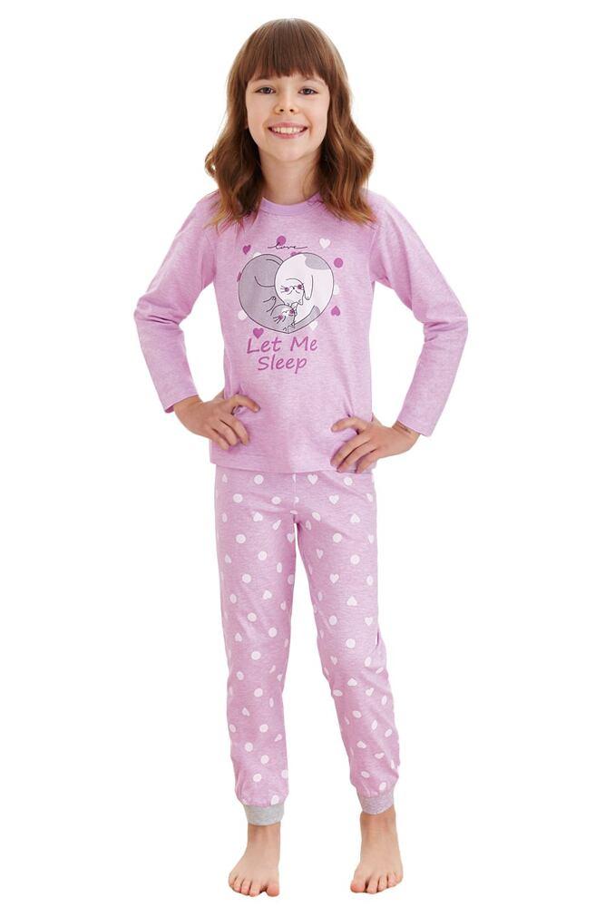 Dívčí pyžamo Elza fialové kočky velikost 86