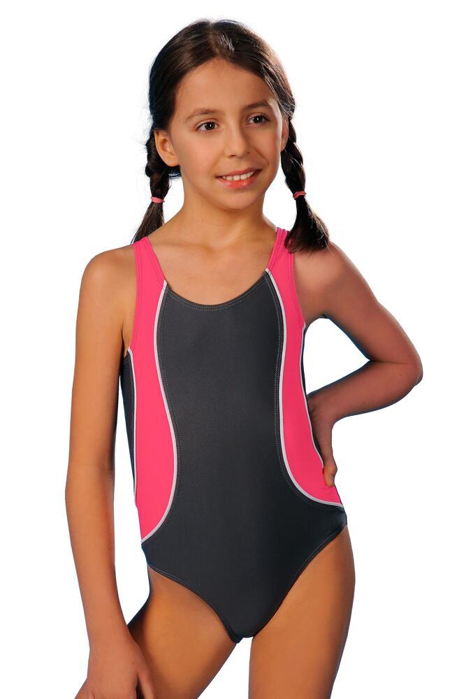 Dívčí jednodílné plavky Ala šedorůžové velikost 128