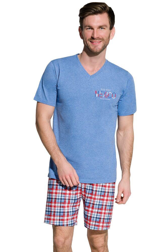 Pánské bavlněné pyžamo Boris modré velikost XL