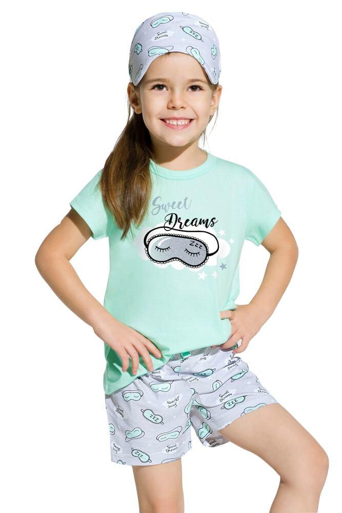 Dívčí bavlněné pyžamo Hanička tyrkysové velikost 128