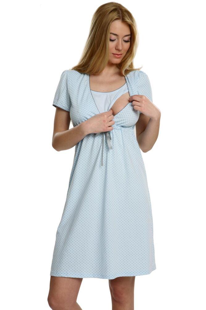 Bavlněná těhotenská noční košile Felicita modrá velikost S