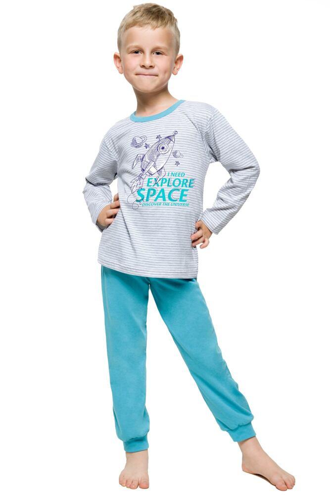 Chlapecké pyžamo s raketou Jirka šedé velikost 122