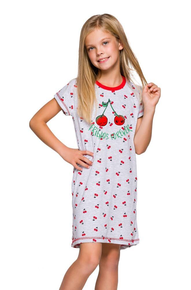 Dívčí noční košilka Pepa šedá s třešničkami velikost 104
