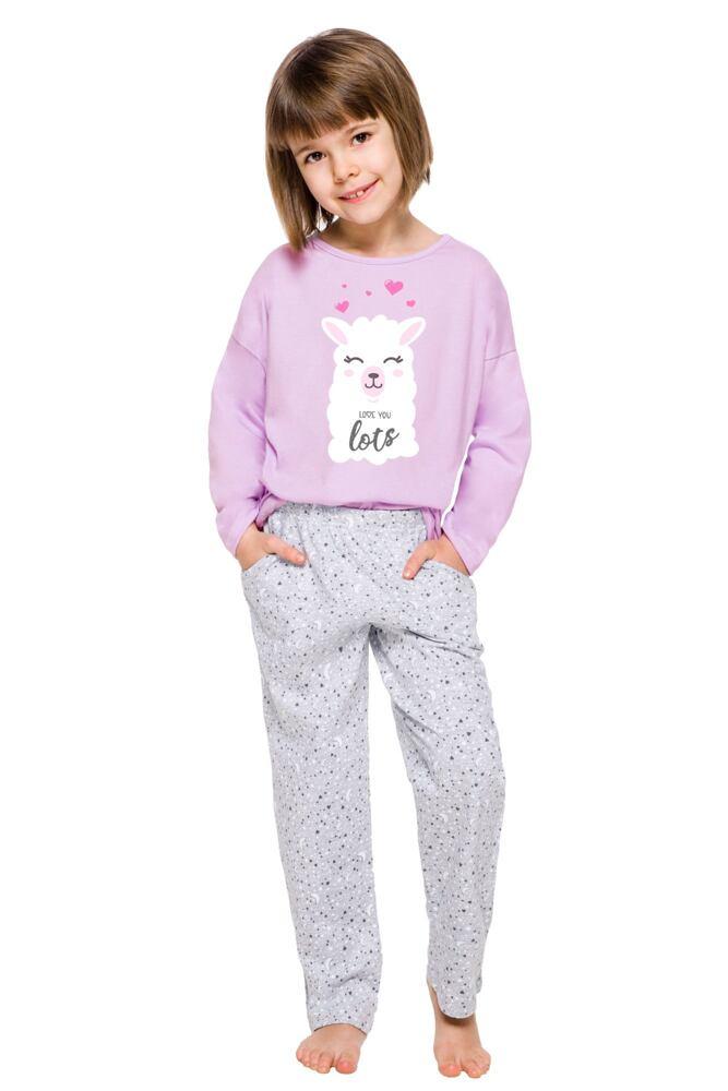 Dívčí pyžamo Sofie fialové s potiskem lamy velikost 110