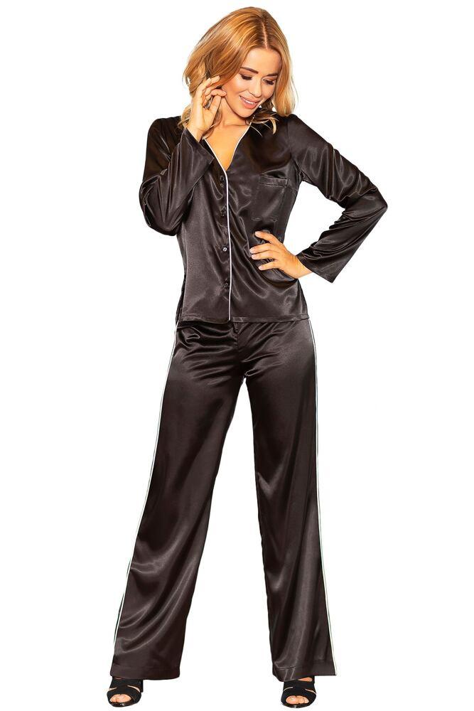 Saténové pyžamo Termi černé velikost S