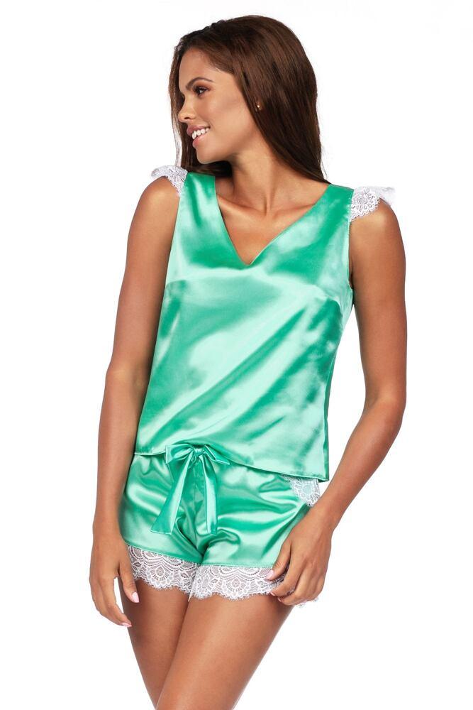 Luxusní saténové pyžamo Alla mint velikost S