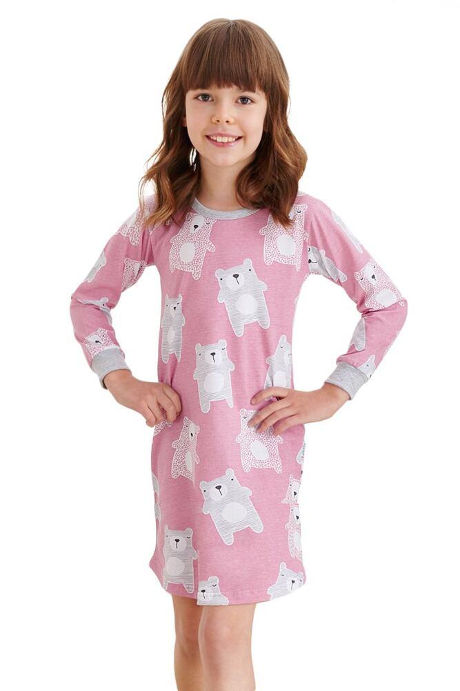 Dívčí noční košilka Malina starorůžová medvídci velikost 104