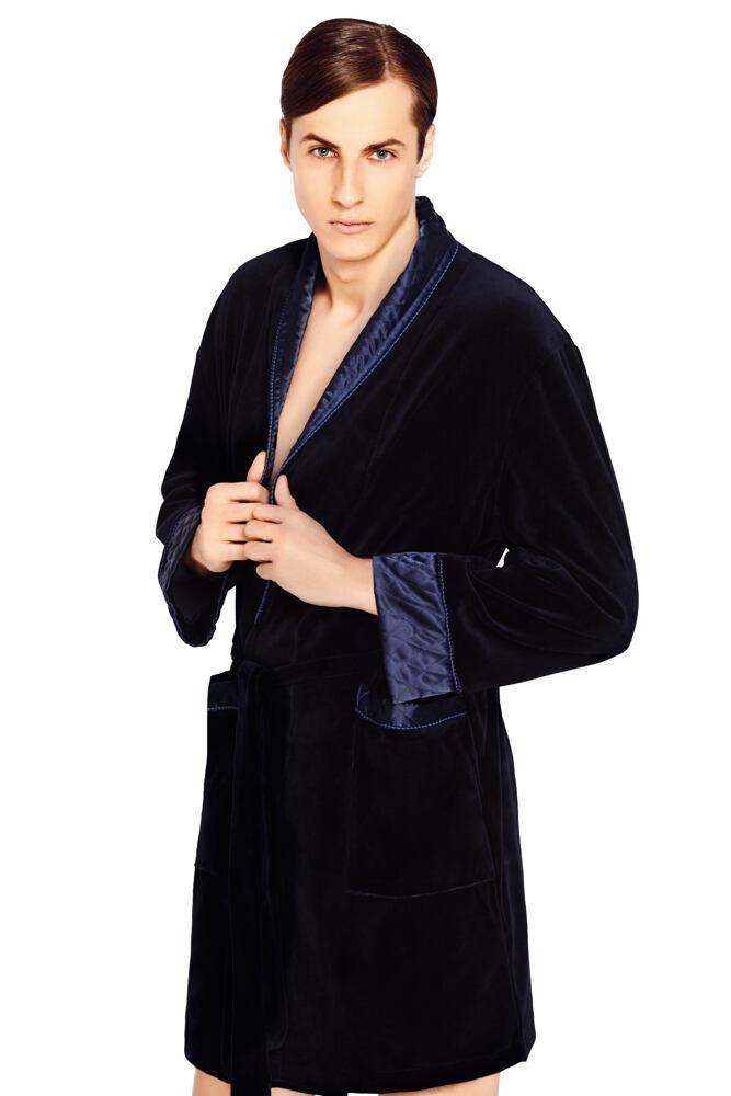 Luxusní pánský župan Bonjour temně modrý krátký velikost M