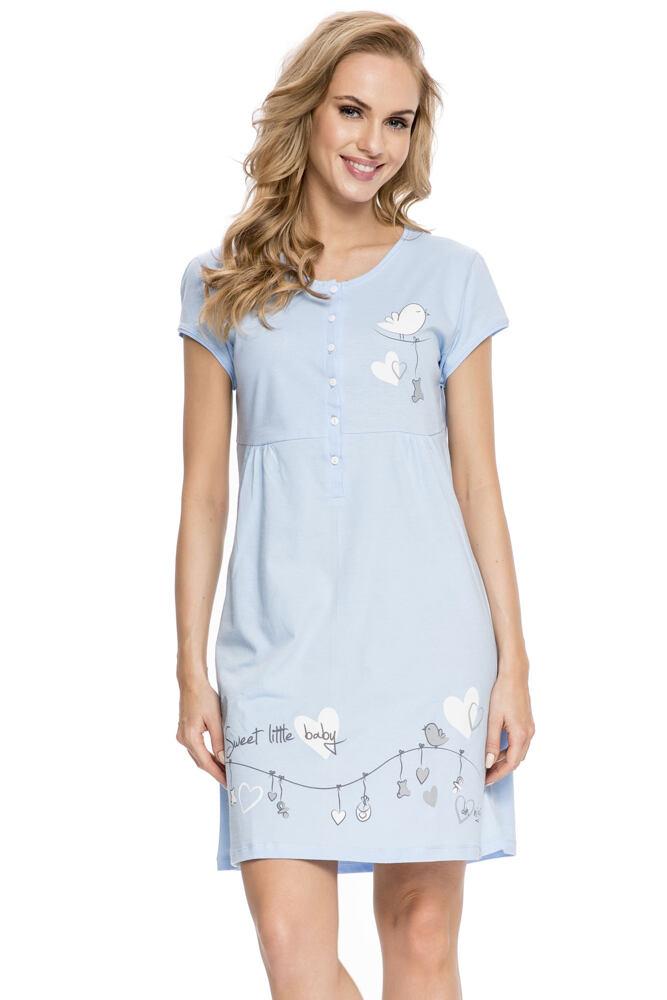 Bavlněná těhotenská a kojicí noční košile Sandra bird velikost S