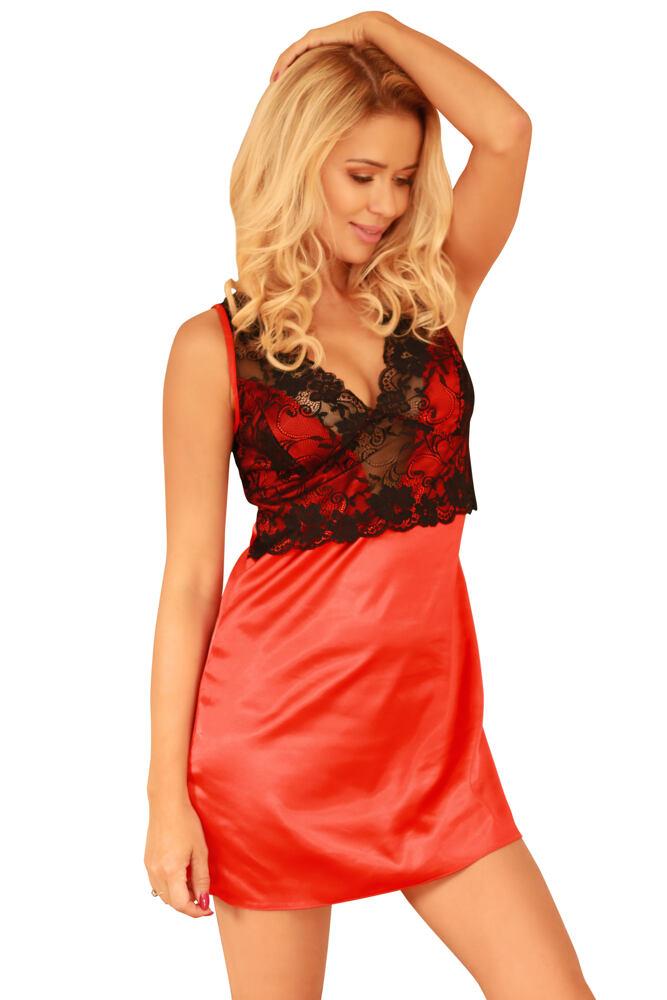 Saténová noční košilka Merida červená velikost S