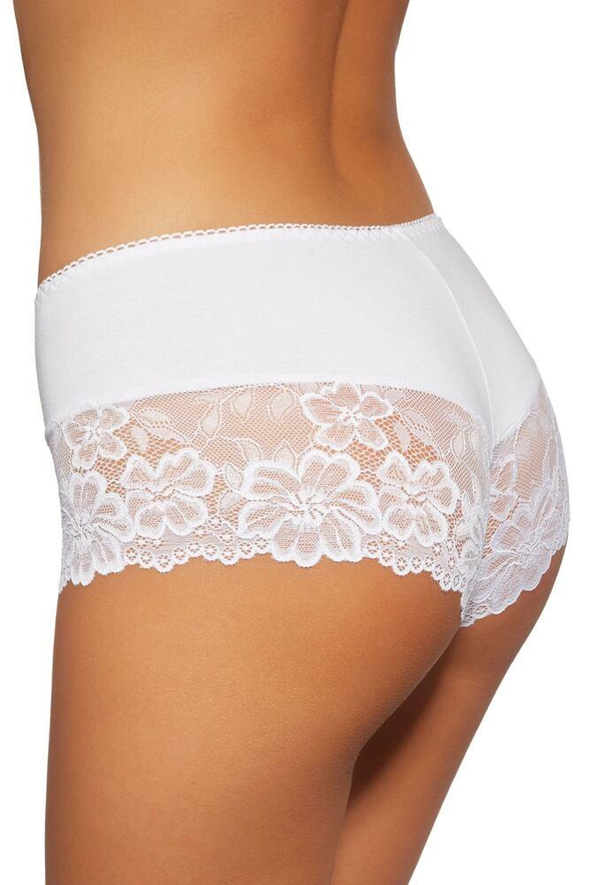 Dámské šortkové kalhotky s krajkou 107 bílé velikost S