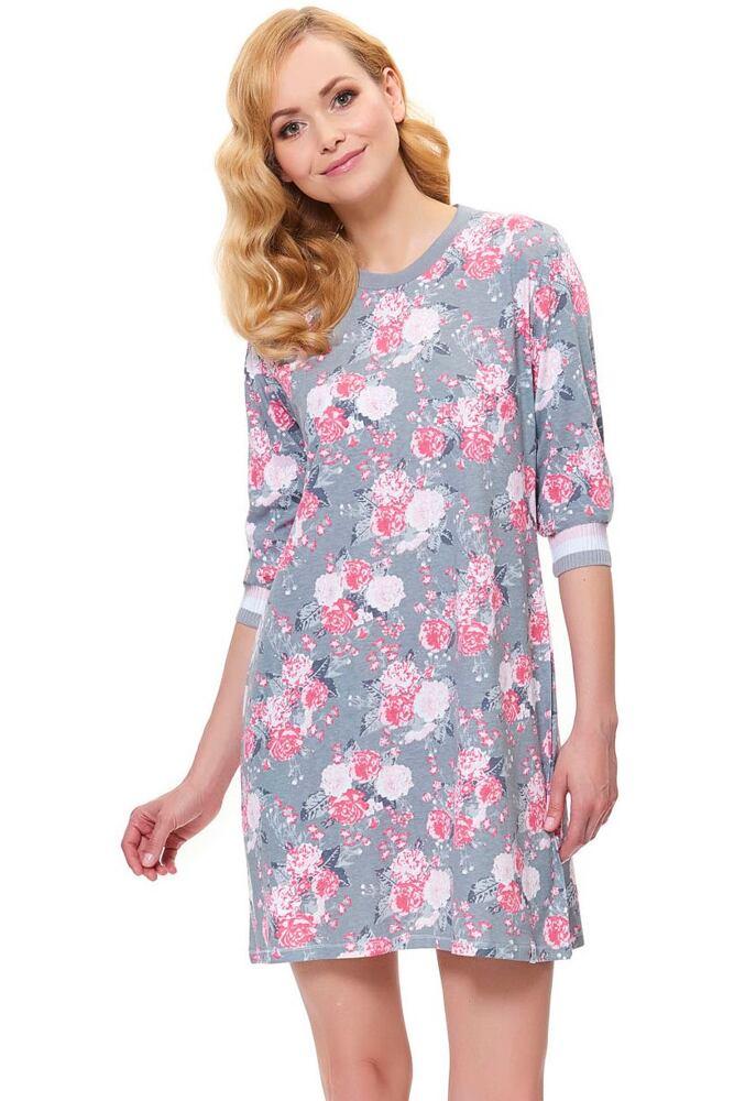 Dámská noční košile Blossom šedá s květy velikost S