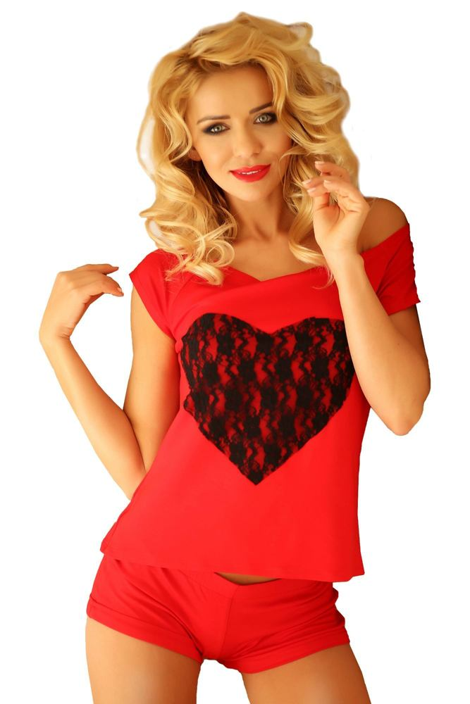 Krátké červené dámské pyžamo Rome velikost XXL
