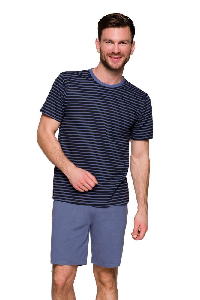 Pánské pyžamo Max modré s proužky velikost S