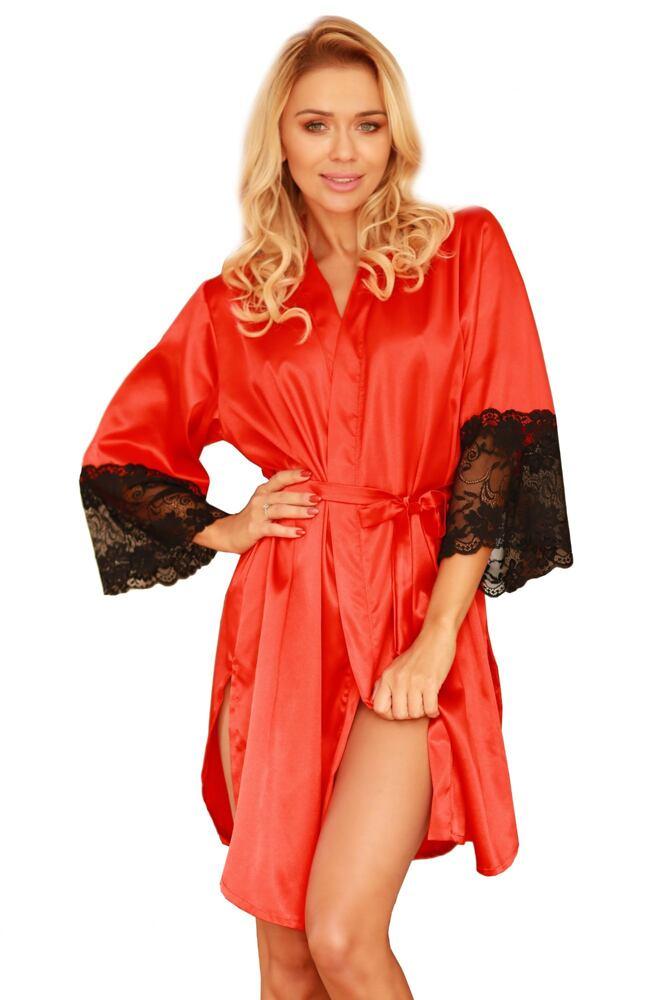 Saténový dámský župan Marbella červený s krajkou velikost S