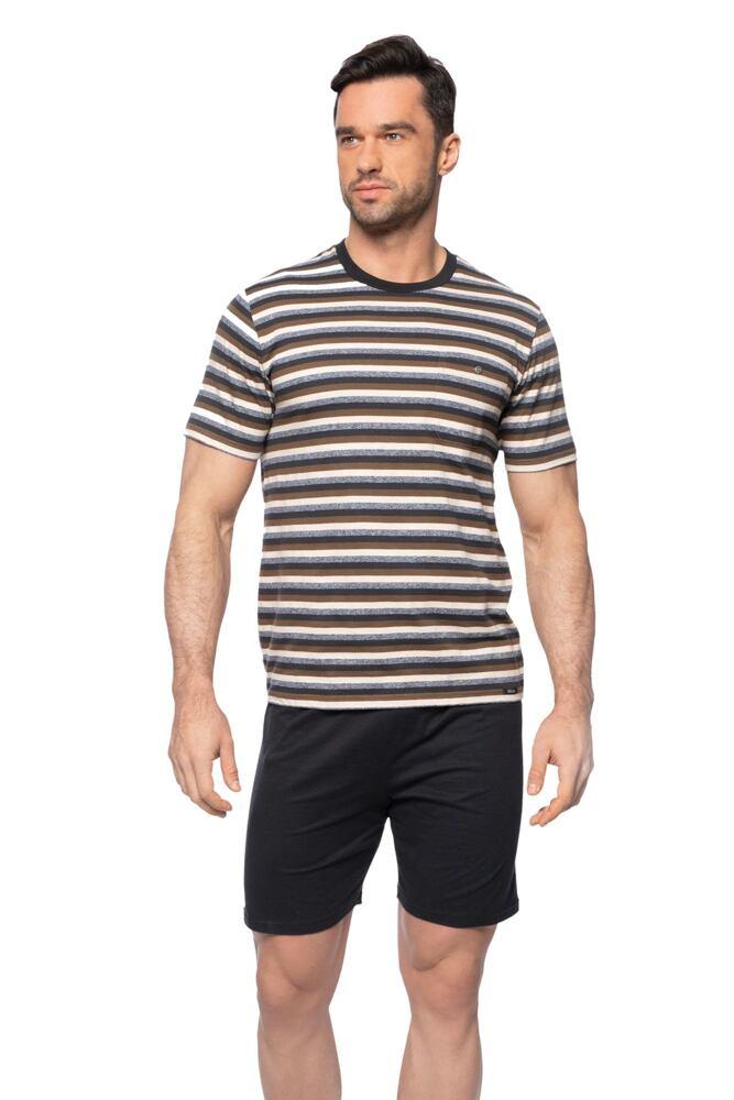 Krátké pánské pyžamo Jarek hnědé velikost M