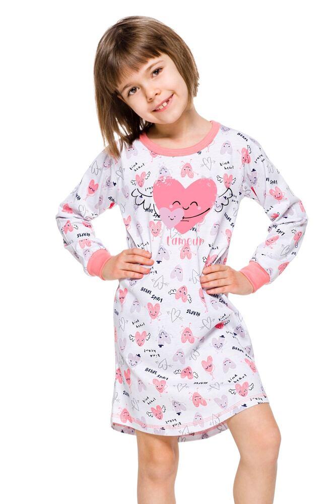 Dívčí košilka Malina bílá se srdíčky velikost 104