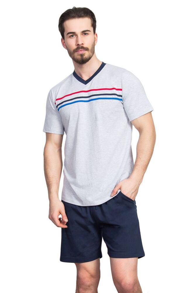 Pánské pyžamo Luke šedé s pruhy velikost XL