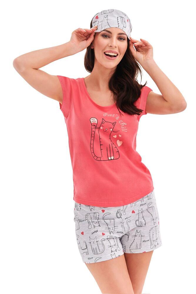 Dámské pyžamo Eva růžové cat velikost S