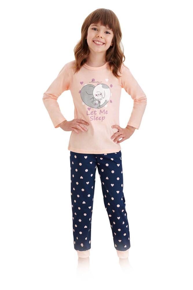 Dívčí pyžamo Elza meruňkové s kočkami velikost 86