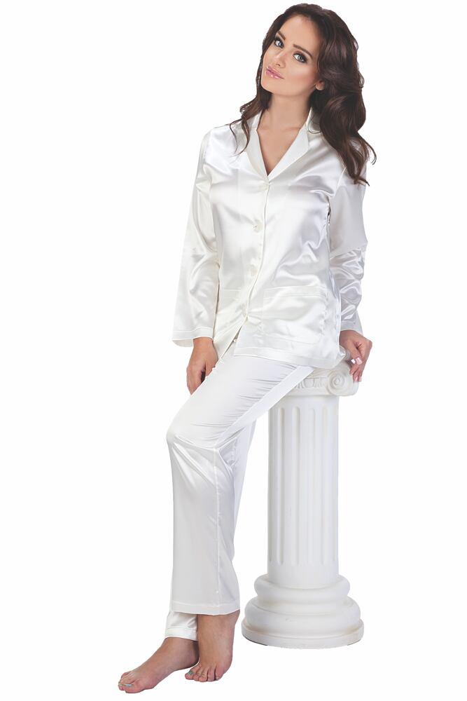 Dámské bílé saténové pyžamo Classic dlouhé velikost M