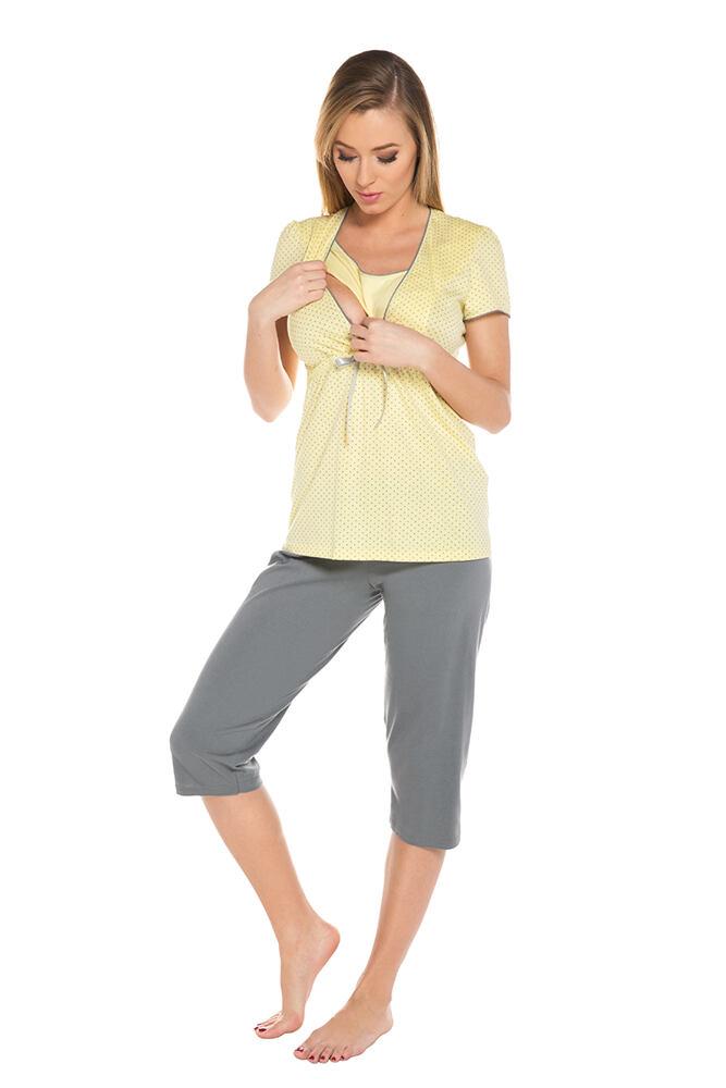 Těhotenské a kojicí pyžamo Felicita žluté velikost XL