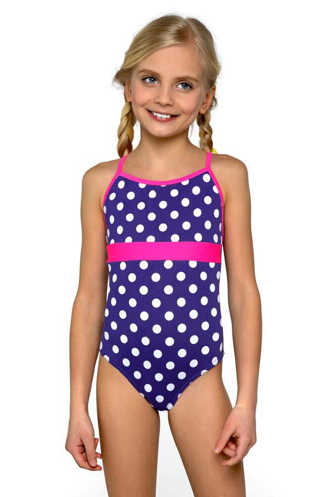 Plavky dívčí jednodílné Jolana bílé puntíčky velikost 140
