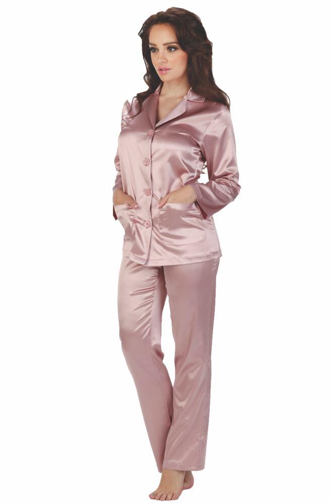 Dámské růžové saténové pyžamo Classic dlouhé velikost M