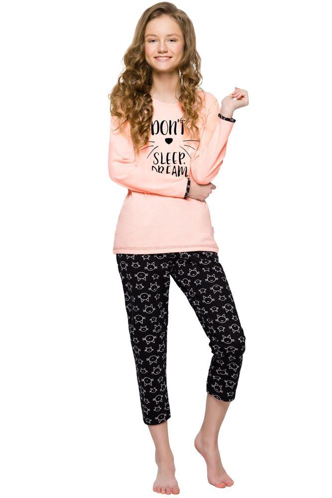 Dívčí bavlněné pyžamo s kočkou Gabi lososové velikost 146