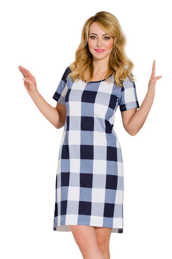 Dámská bavlněná noční košile Dagmar káro modrá velikost S
