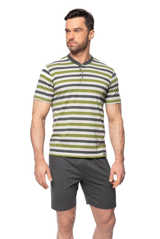 Krátké pánské pyžamo Marek šedozelené pruhy velikost M