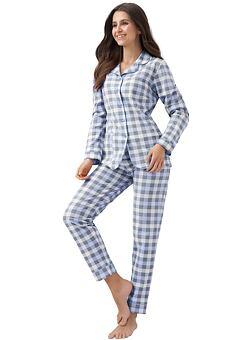-31% Dámské propínací pyžamo Demi modré kostkované ... ae6bff7f7b